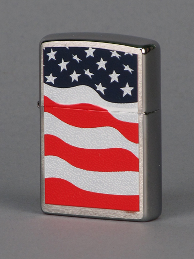 ZIPPO запальничка american flag brushed chrome