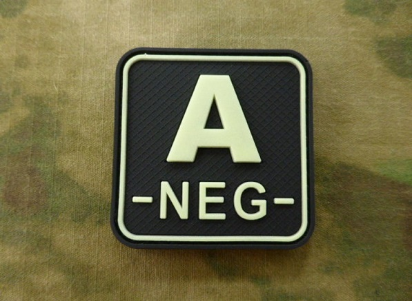 JTG патч A Neg Blood Type Square Patch GID