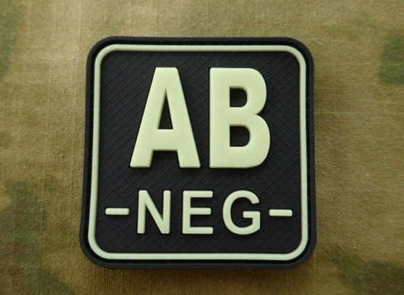 JTG патч AB Neg Blood Type Square Patch GID
