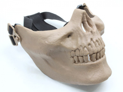 China made Airsoft Mask Skull Half Face TAN