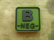 JTG B Neg Blood Type Square Patch Forest