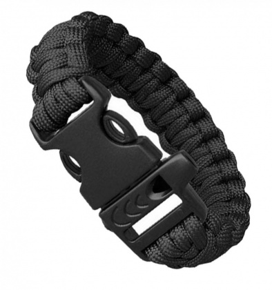 Highlander Paracord Bracelet with Whistle Black