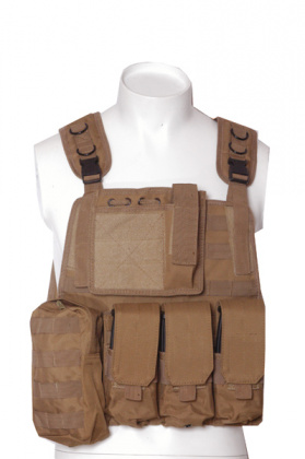 RT Tactical Plate Vest with pouches - Tan ( molle hydration system not included)