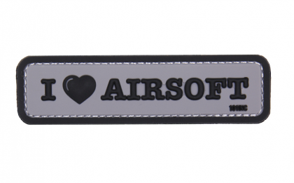 101 INC I Love Airsoft 3D PVC Patch Grey