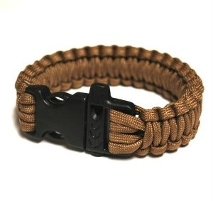 Highlander Paracord Bracelet with Whistle Khaki