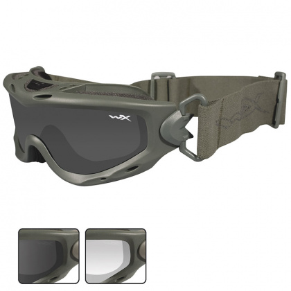 Wiley X очки-маска Spear Smoke/Clear Lens/Foliage Green Frame