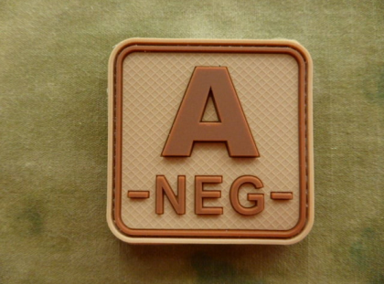 JTG A Neg Blood Type Square Patch Desert