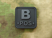 JTG B Pos Blood Type Square Patch BlackOps
