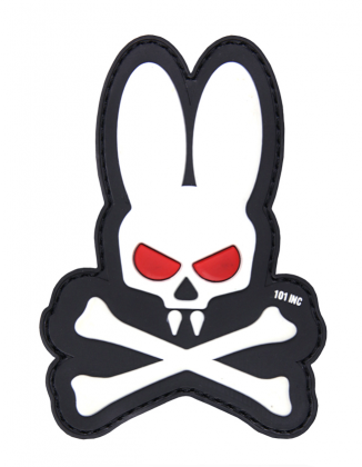 101 INC Skull Bunny 3D PVC Patch Black/White