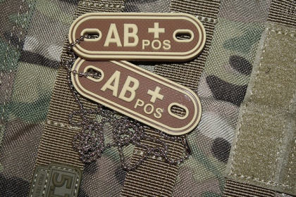 JTG AB Pos Blood Type Dog Tags Desert