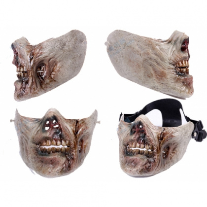 China made Airsoft Mask Zombie Half Face Gray