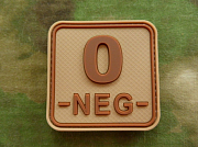 JTG O Neg Blood Type Square PVC Patch Desert