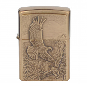 ZIPPO зажигалка brushed brass where eagles dare