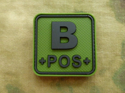 JTG B Pos Blood Type Square Patch Forest