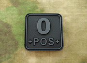 JTG O Pos Blood Type Square Patch BlackOps