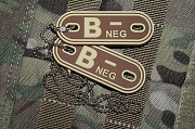 JTG B Neg Blood Type Dog Tags Desert