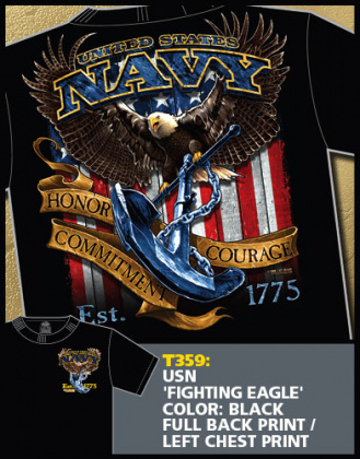 7,62 футболка USN Fighting Eagle черная все разм.