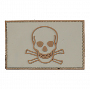 China made Skull & Bones 3D PVC Patch Tan