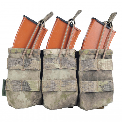 WAS Triple MOLLE Open AK 7.62mm Pouch A-TACS AU