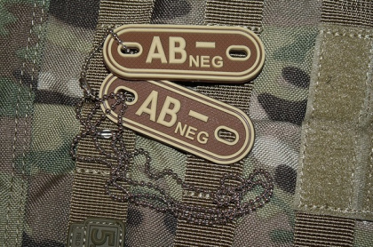 JTG AB Neg Blood Type Dog Tags Desert