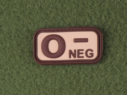JTG O Neg Blood Type Patch Desert