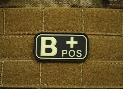 JTG B Pos Blood Type Patch Ghost GID