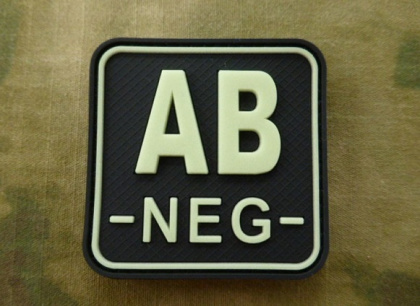 JTG AB Neg Blood Type Square Patch GID