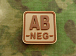 JTG AB Neg Blood Type Square Patch Desert