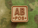 JTG AB Pos Blood Type Square Patch Desert