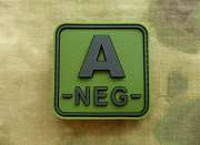 JTG A Neg Blood Type Square Patch Forest