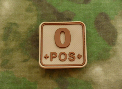 JTG O Pos Blood Type Square Patch Desert