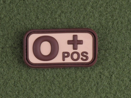 JTG O Pos Blood Type Patch Desert