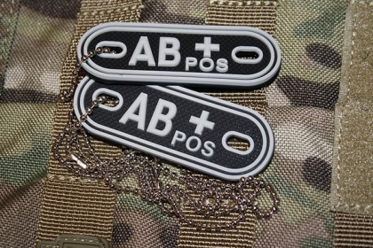 JTG AB Pos Blood Type Dog Tags SWAT