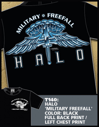 7,62 футболка HALO Military Freefall черная все разм.