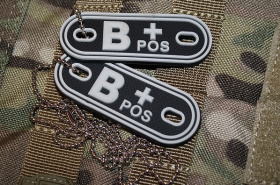 JTG B Pos Blood Type Dog Tags SWAT