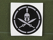 MSM Spartan Helmet Stencil Decal Grey on Black